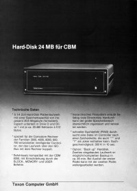 Brochures: Taxon - 24 MB Hard-Disk