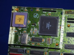 Close up of the CPU and FPU of a A 2630 accelerator card with a 68030 CPU.