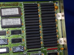 Close up of extra RAM of a A 2630 accelerator card with a 68030 CPU.