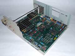 The motherboard of the Amiga 2000 computer.