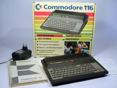 The Commodore C116 with original packaging, manual and power supply.