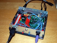 The inside of the hacked C64-DTV from Wilfred Bos. Wilfred Bos is the creator of ACID-64.