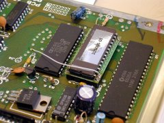 A modified character ROM in the Spanish C64c.