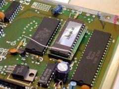 Een aangepaste karakter ROM in de Spaanse C64c.