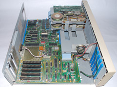The motherboard of the Commodore PC 10 computer.