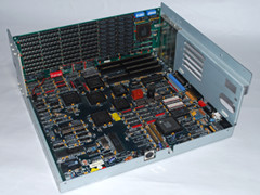 The motherboard of the Commodore PC 45-III computer.