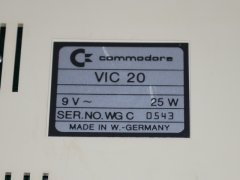 The (low) serial number of the Commodore VIC-20.