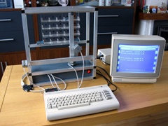 A pallet warehouse controlled with a Commodore C64.