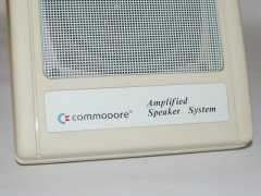 Close up of the Commodore active speaker system. (left)