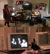 An Commodore C64c computer and a 2002 monitor in the movie Adventures in Babysitting.