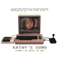 A Commodore C64 computer, 1530 datassette, Competition Pro joystick and a 1802 monitor on the cover of Apoptygma Berzerk - Kathy's Song.