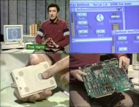 A Commodore A1000 computer and a 1010 disk drive in the BBC TV-series Micro Live.