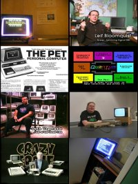 A Commodore PET 2001 and C64 computer, 1802 monitor, 1541 diskdrive, Quantum Link and Leif Bloomquist.