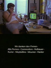 A Commodore C64 computer, 1702 monitor, MPS-801 and a 1541disk drive in the film Müllers Büro.