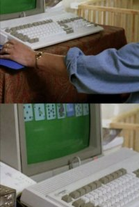 A Commodore Amiga 1200 computer and 1084 monitor in the TV-series Cracker.
