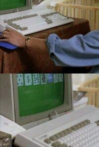 A Commodore Amiga 1200 computer and 1084 monitor in the TV-series Cracker.