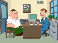 A Commodore C64 computer and a 1802 monitor in the animated TV-series Family Guy.
