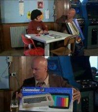 A boxed Commodore C64 in the TV-comedy  Le avventure della - Banda di testa di cane.