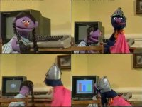 A Commodore C64 computer in the TV-series Sesame Street.