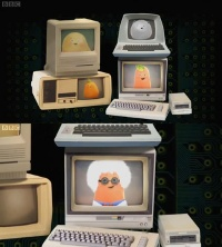 A Commodore C64 computer, 1702 monitor and a 1541 disk drive in the TV series Small Potatoes.