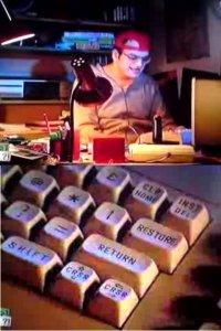 A Commodore C64 (Aldi) and a 1530 Datassette in the comedy Was guckst du?!