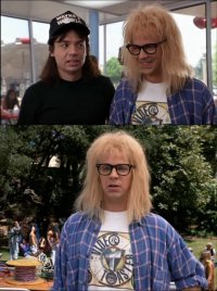 Garth Algar is wearing a Video Toaster T-shirt in the movie Wayne's World 2.